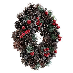 Advent wreath with cones and berries 30 cm in diameter, Red finish s4