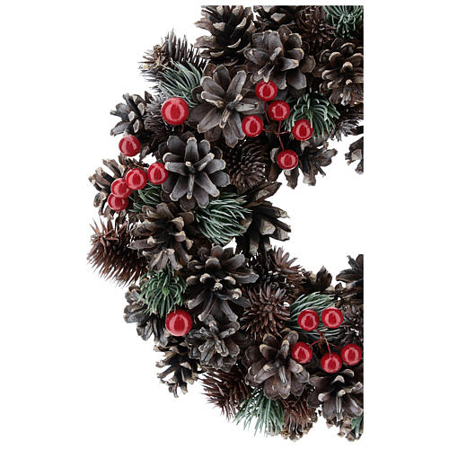Advent wreath with cones and berries 30 cm in diameter, Red finish 2