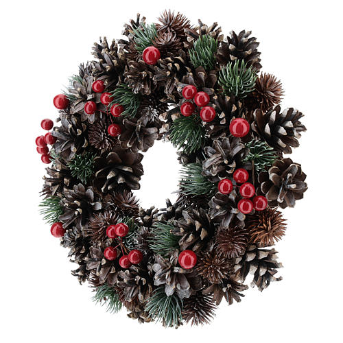 Advent wreath with cones and berries 30 cm in diameter, Red finish 3