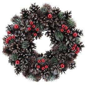 Décorations Noël pour la maison: Couronne Avent pommes de pin et baies rouges 30 cm