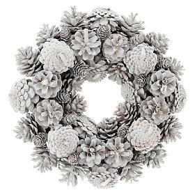 Advent wreath with white pine cones 30 cm in diameter, White finish s1