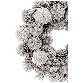 Advent wreath with white pine cones 30 cm in diameter, White finish s2