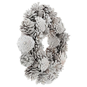 Advent wreath with white pine cones 30 cm in diameter, White finish s4
