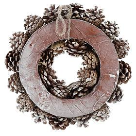 Advent wreath with white pine cones 30 cm in diameter, White finish s5