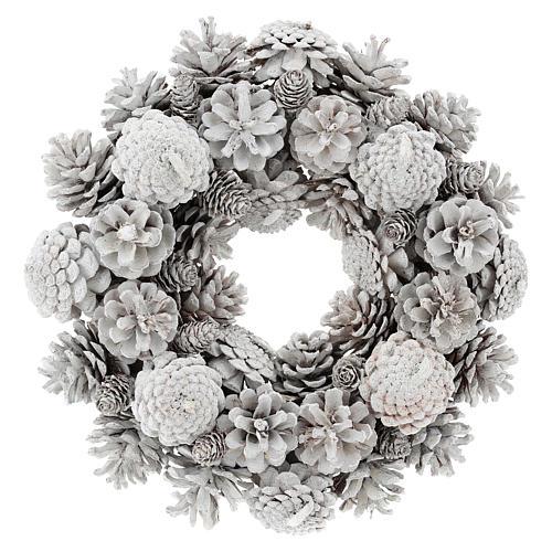 Advent wreath with white pine cones 30 cm in diameter, White finish 1