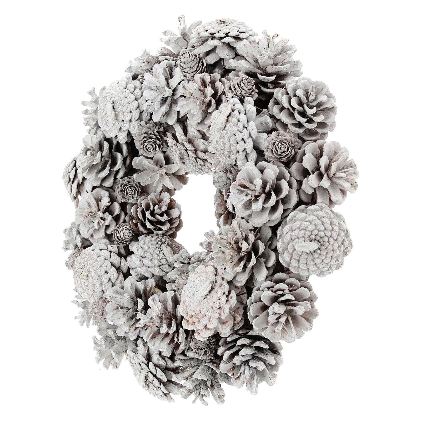 Coroa com pinhas brancas 30 cm 3