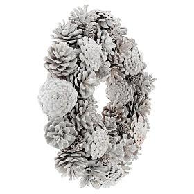 Coroa com pinhas brancas 30 cm s4