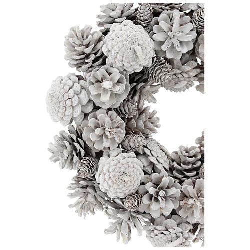 Coroa com pinhas brancas 30 cm 2