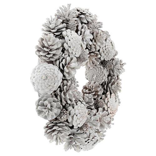 Coroa com pinhas brancas 30 cm 4