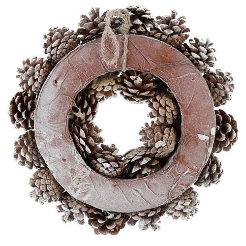 Coroa com pinhas brancas 30 cm 5
