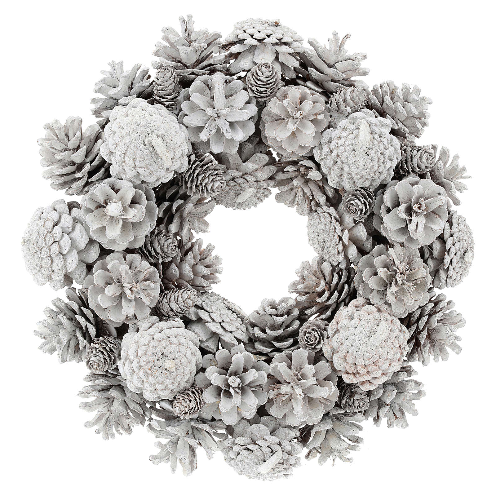 Advent wreath with white pine cones 30 cm diam 3