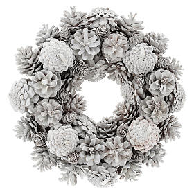 Advent wreath with white pine cones 30 cm diam s1