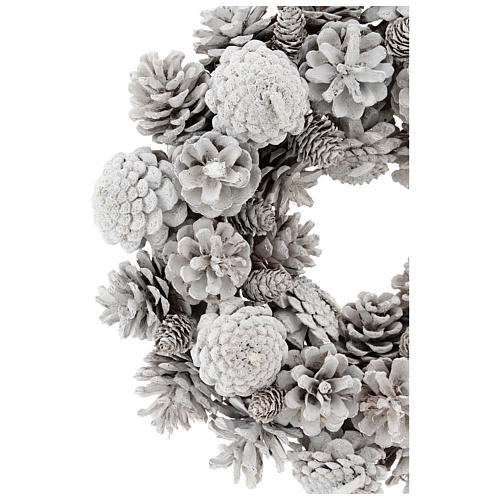 Advent wreath with white pine cones 30 cm diam 2