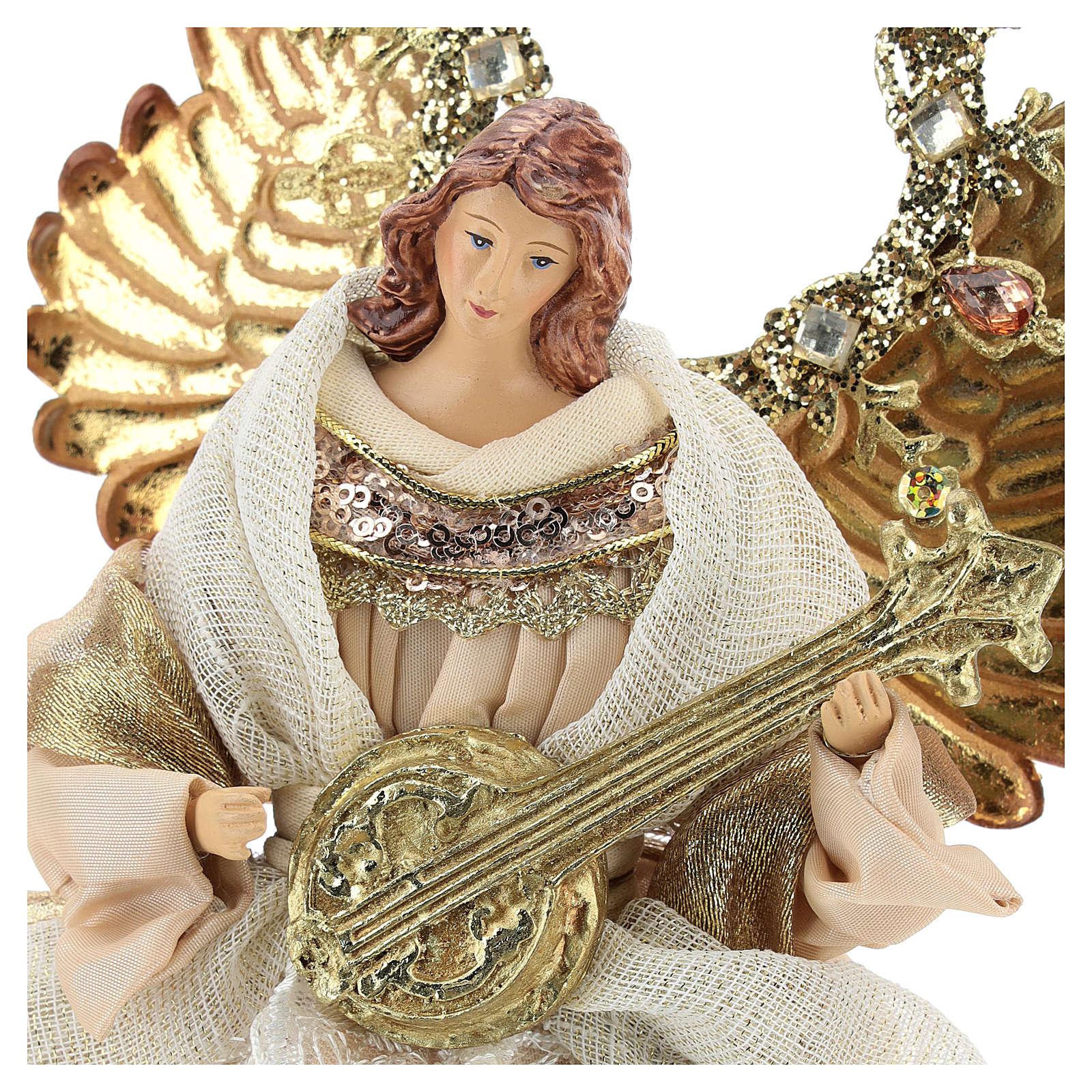 Ange avec guitare cimier 26 cm beige or 3