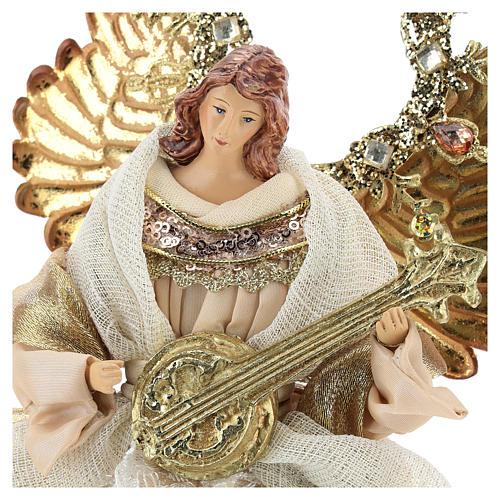 Ange avec guitare cimier 26 cm beige or 2