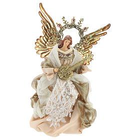 Enfeites de Natal para a Casa: Anjo com guitarra ponteira 26 cm bege e ouro