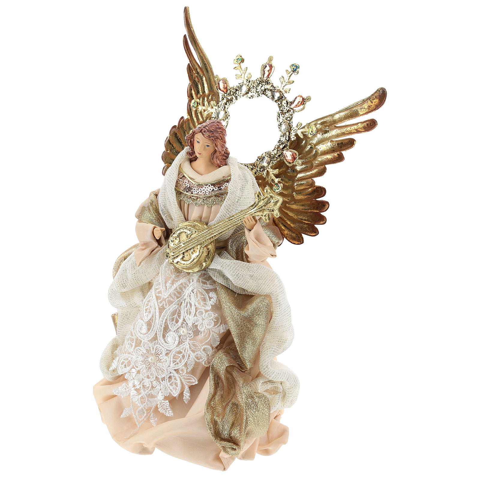 Angel tree topper with guitar 26 cm Beige Gold 3