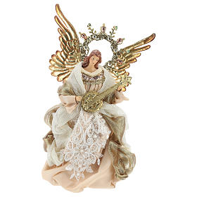 Angel tree topper with guitar 26 cm Beige Gold s1