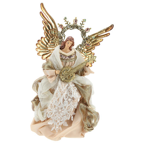 Angel tree topper with guitar 26 cm Beige Gold 1