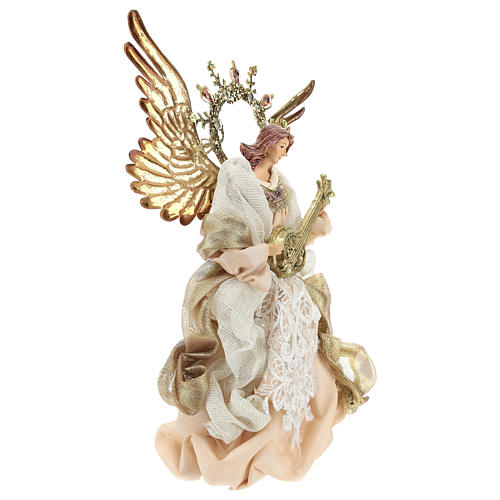 Angel tree topper with guitar 26 cm Beige Gold 4