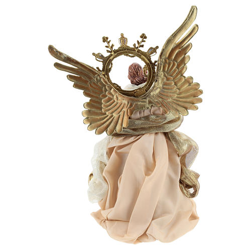 Angel tree topper with guitar 26 cm Beige Gold 5