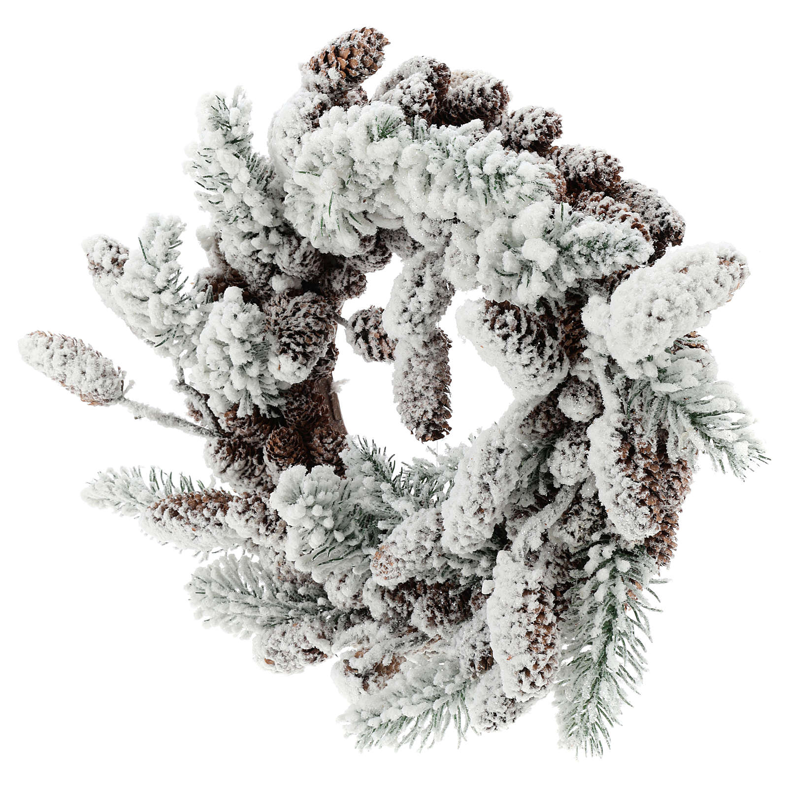 Advent crown with pine cones and snow 33 cms in diameter 3