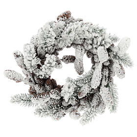 Advent crown with pine cones and snow 33 cms in diameter s1