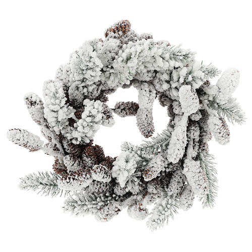 Advent crown with pine cones and snow 33 cms in diameter 1