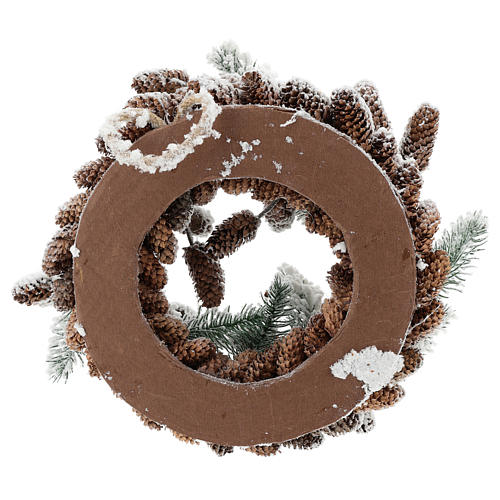 Advent crown with pine cones and snow 33 cms in diameter 5