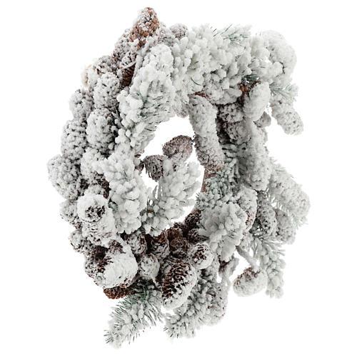 Corona Adviento con piñas y nieve 33 cm 4