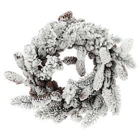 Couronne Avent avec pommes de pin et neige 33 cm s1