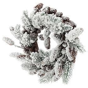 Corona Avvento con pigne e neve 33 cm s3
