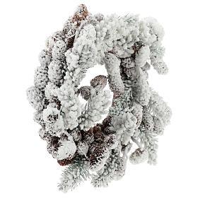 Corona Avvento con pigne e neve 33 cm s4