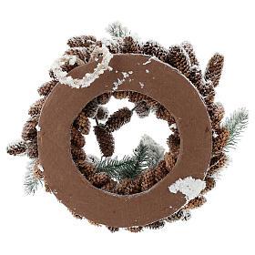 Corona Avvento con pigne e neve 33 cm s5