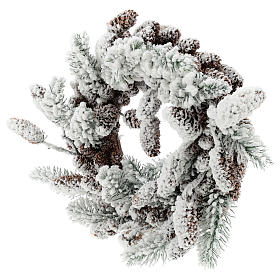 Snowy Advent wreath with pine cones 33 cm s3