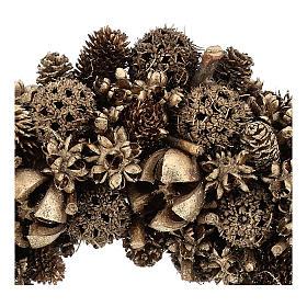 Wreath of golden pine cones 30 cm Gold finish s2