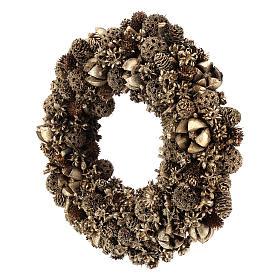 Wreath of golden pine cones 30 cm Gold finish s3