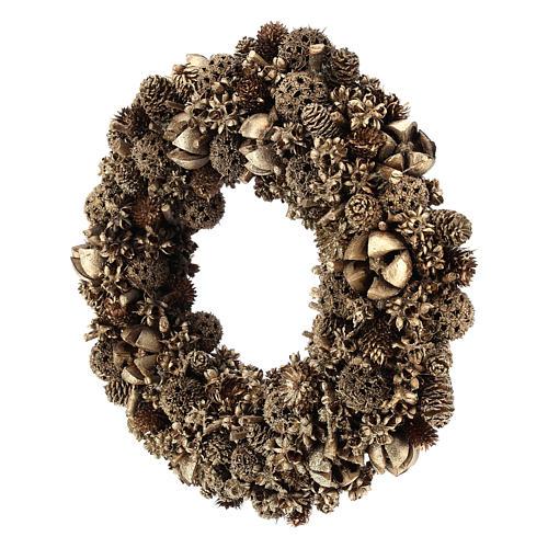 Wreath of golden pine cones 30 cm Gold finish 3