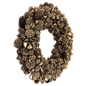 Ghirlanda Natalizia di pigne dorata 30 cm Gold s4