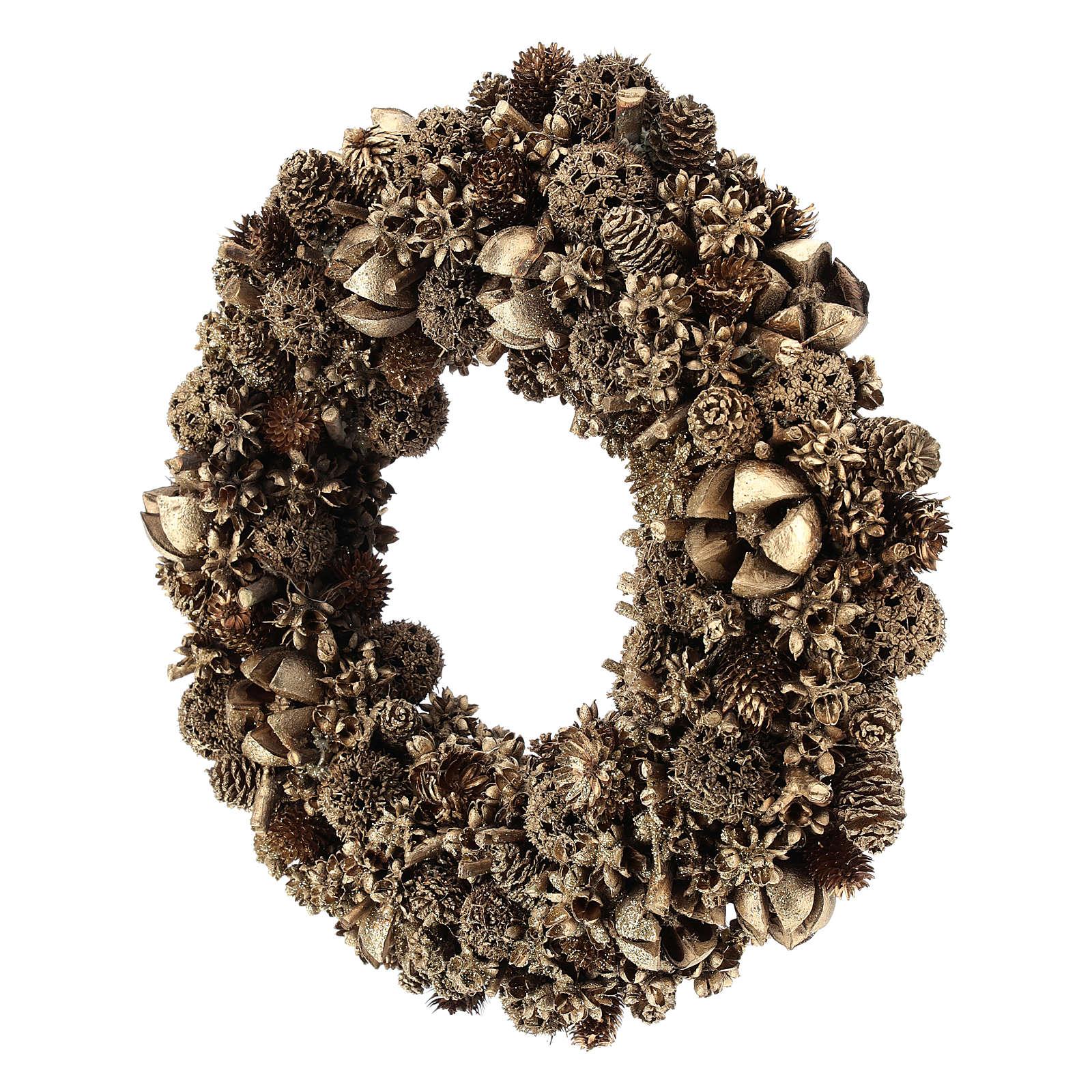 Coroa Natal pinhas douradas 30 cm 3