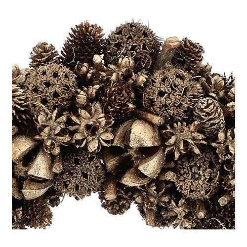 Coroa Natal pinhas douradas 30 cm 2
