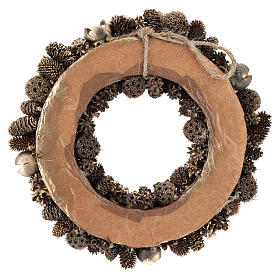 Christmas wreath with golden pine cones 30 cm Gold s5