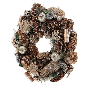 Advent wreath with pine cones and apples 30 cm, Gold finish s3