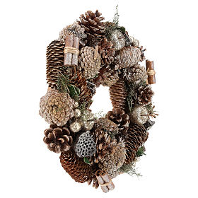 Advent wreath with pine cones and apples 30 cm, Gold finish s4