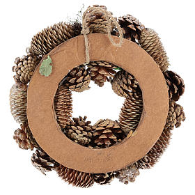 Advent wreath with pine cones and apples 30 cm, Gold finish s5