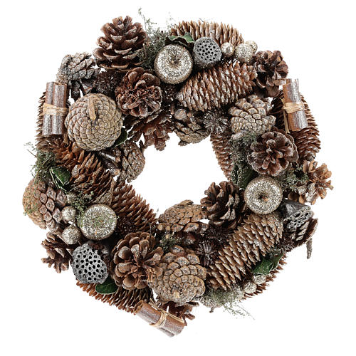 Advent wreath with pine cones and apples 30 cm, Gold finish 1