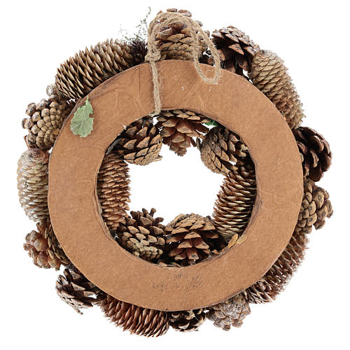 Advent wreath with pine cones and apples 30 cm, Gold finish 5
