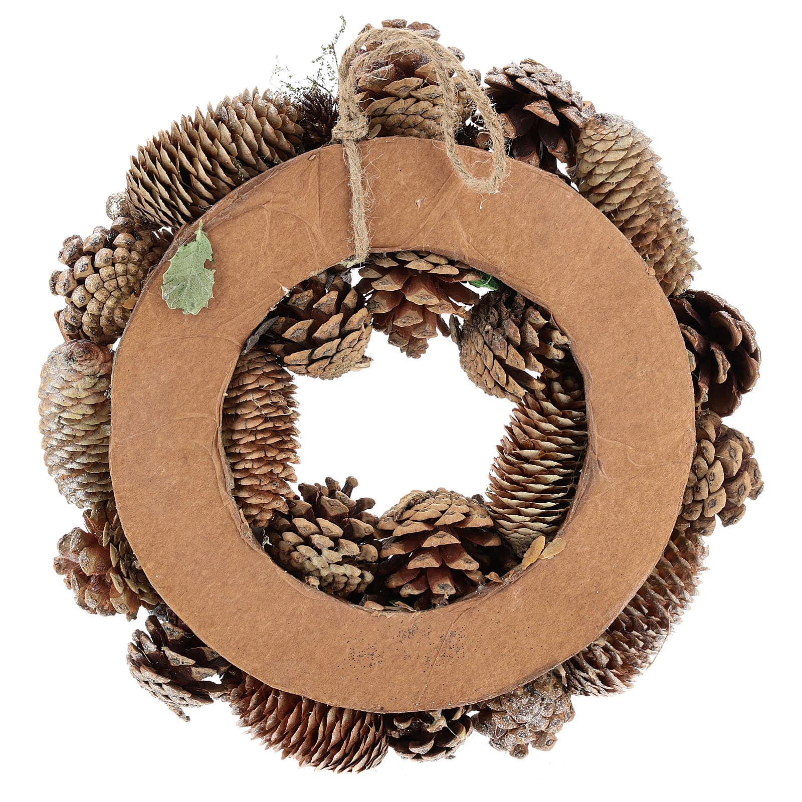 Corona dell'Avvento con pigne e mele 30 cm Gold 3