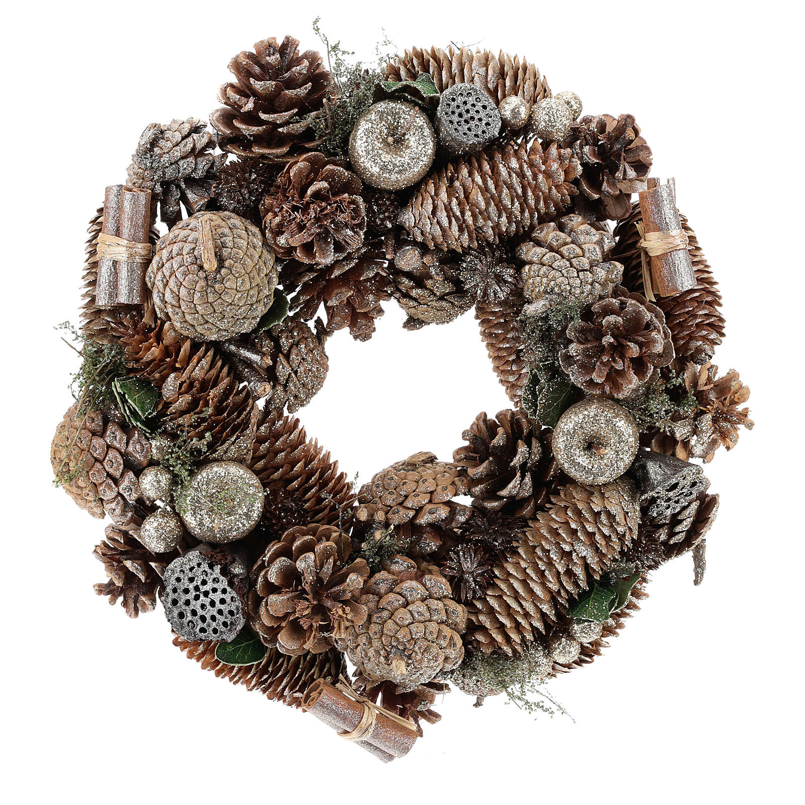 Advent wreath with pine cones and apples 30 cm Gold 3