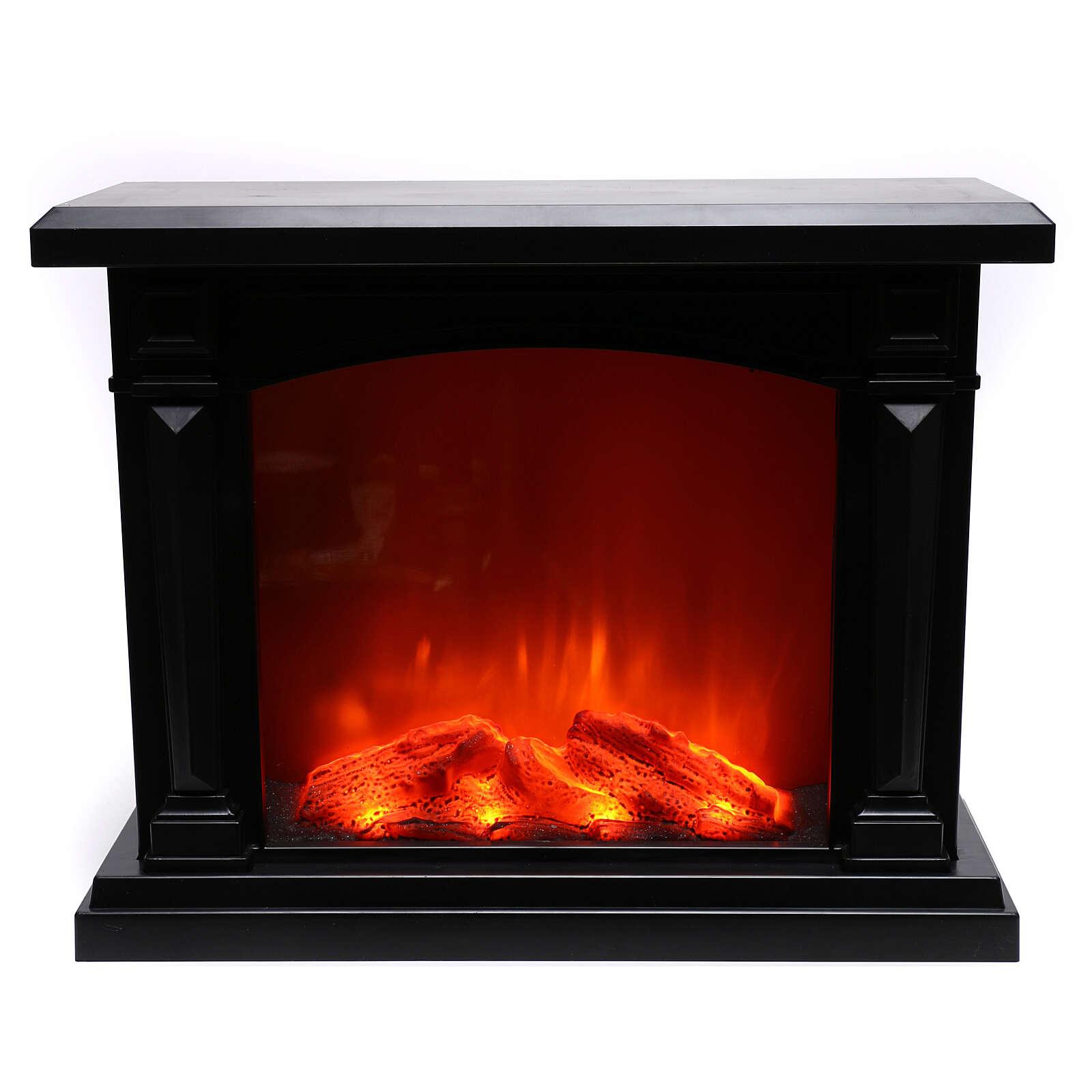 Schwarzer Kamin mit LED und Feuereffekt, 35x40x15 cm 3